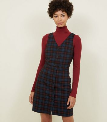 Black Check Button Front Pinafore Dress