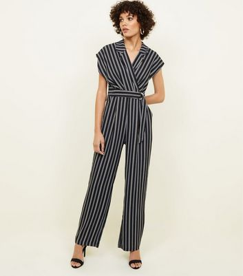 Black Stripe Revere Collar Belted Jumpsuit