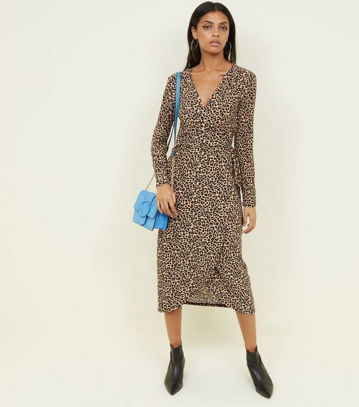 Leopard Soft Touch Wrap Midi Dress