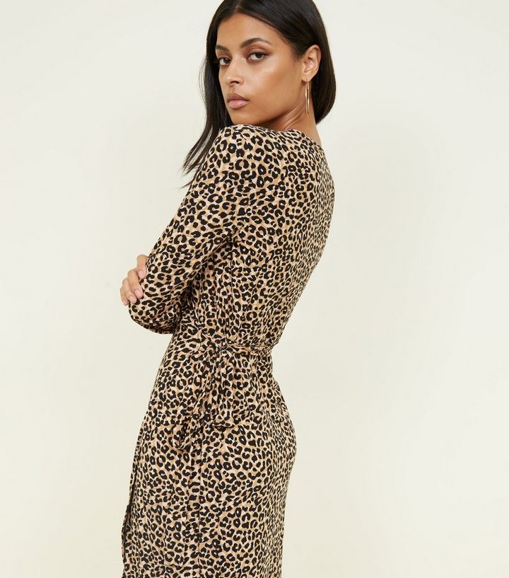 642dea201429c Brown Leopard Print Soft Touch Midi Dress. Add to Saved Items