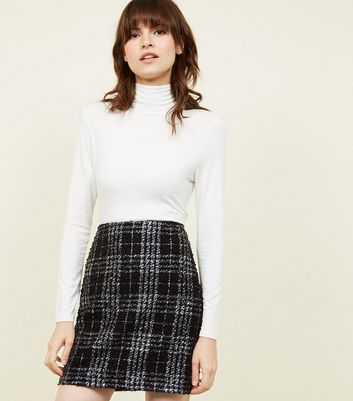 Black Metallic Check Bouclé Check Mini Skirt