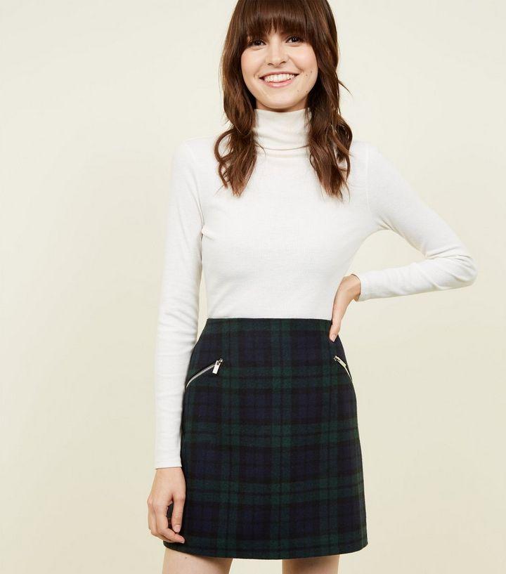a4b2090dbf Dark Green Brushed Check Mini Skirt | New Look