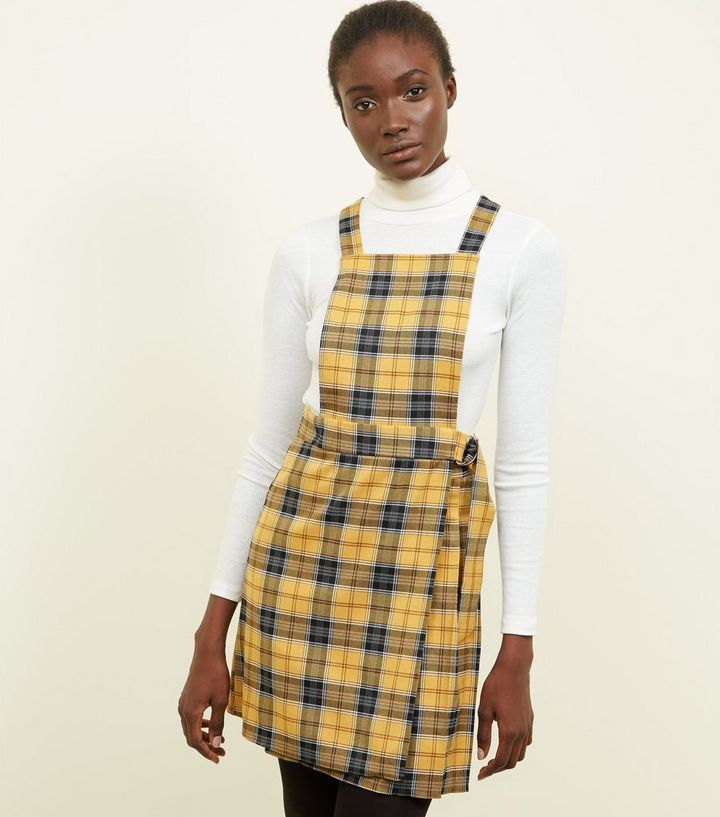 caa3d59e3f Yellow Check Wrap Skirt Pinafore Dress