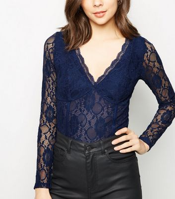 Navy Lace Long Sleeve Bodysuit