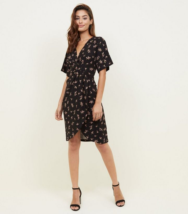 0b95163096108 Black Ditsy Floral Soft Touch Knot Front Dress | New Look