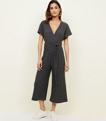 Grey Ribbed Brushed Wrap Front Jumpsuit