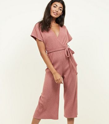 Mid Pink Brushed Soft Touch Wrap Jumpsuit