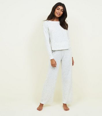 Pale Grey Marl Brushed Rib Pyjama Joggers