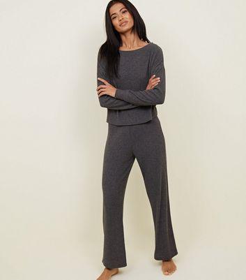Dark Grey Brushed Rib Pyjama Joggers by New Look