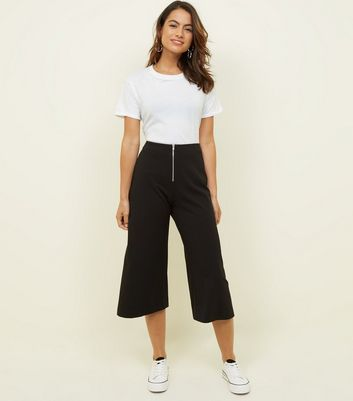 Petite Black Zip Front Scuba Cropped Trousers