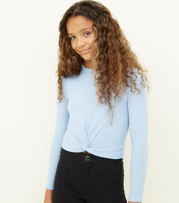 Girls Blue Ribbed Long Sleeve Twist Front Top