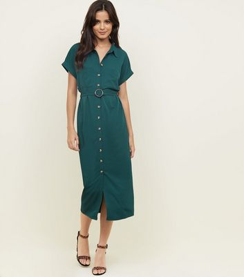 Dark Green Button Through Midi Shirt Dress