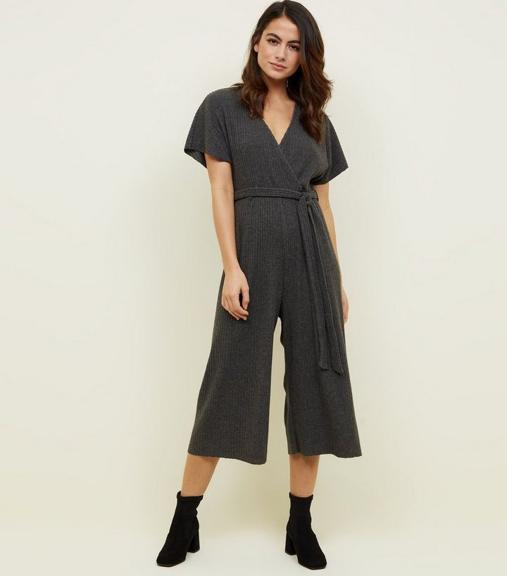 good cheaper sale how to purchase Petite Grey Brushed Rib Culotte Jumpsuit Add to Saved Items Remove from  Saved Items