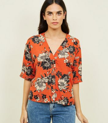 Tall Orange Floral V-Neck Shirt