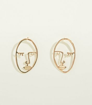 Gold Face Silhouette Stud Earrings