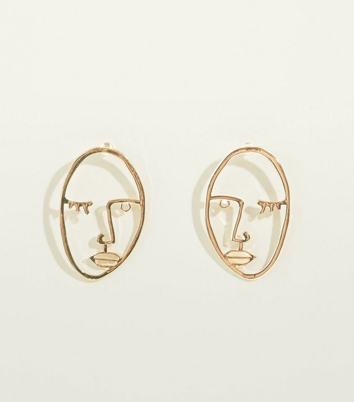 Gold Face Silhouette Stud Earrings Add To Saved Items Remove From