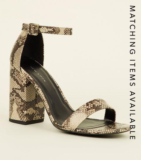 000ae8c9cfb ... Stone Faux Snake Block Heel Sandals ...