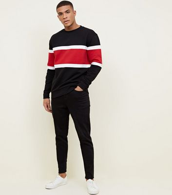 Black Colour Block Crew Neck Sweatshirt