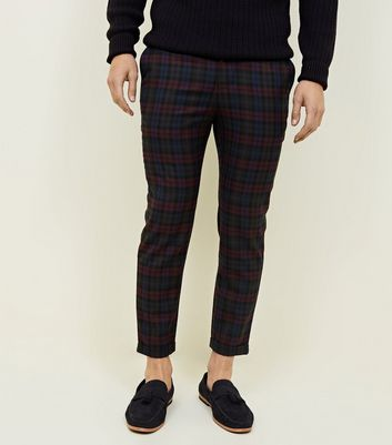 Burgundy Tonal Tartan Check Cropped Trousers