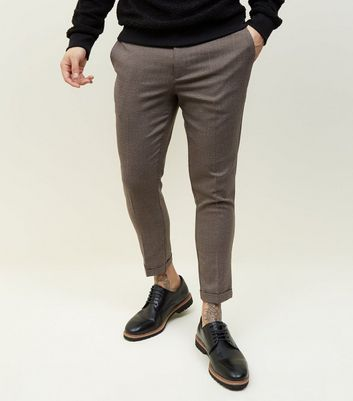 Dark Grey Houndstooth Slim Fit Trousers