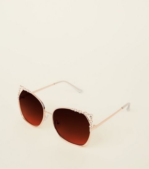 476811369bb ... Gold Cut-Out Diamanté Rectangle Sunglasses ...