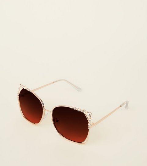 0cd2bf52c4c ... Gold Cut-Out Diamanté Rectangle Sunglasses ...
