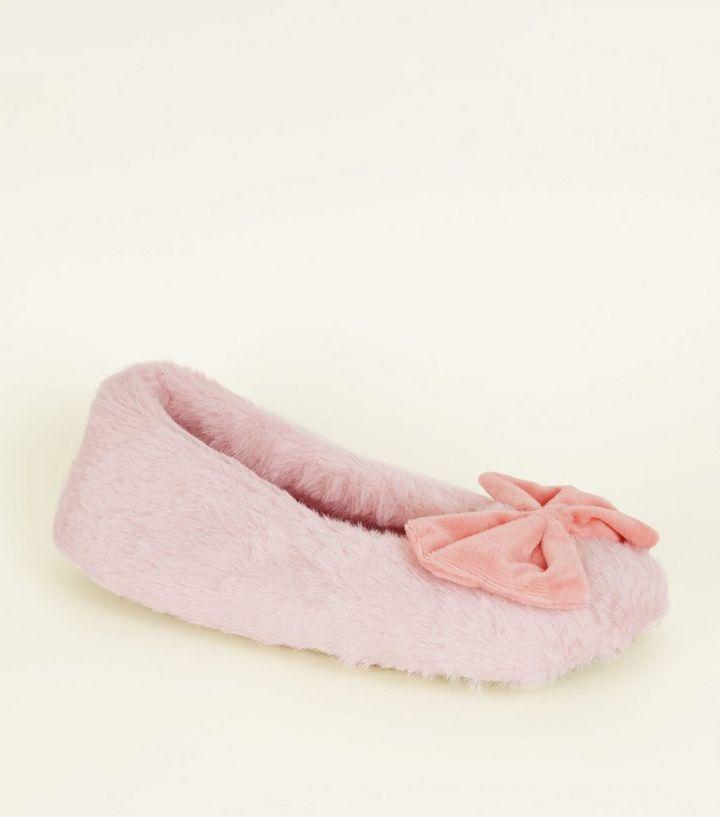 363c697eb21d Pink Fluffy Velvet Bow Slippers