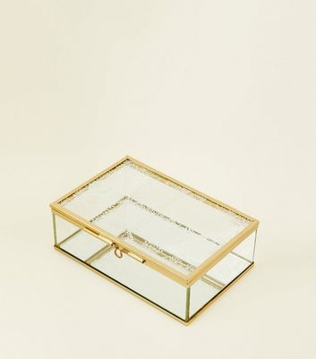 Gold Trim Tile Detail Top Glass Jewellery Box