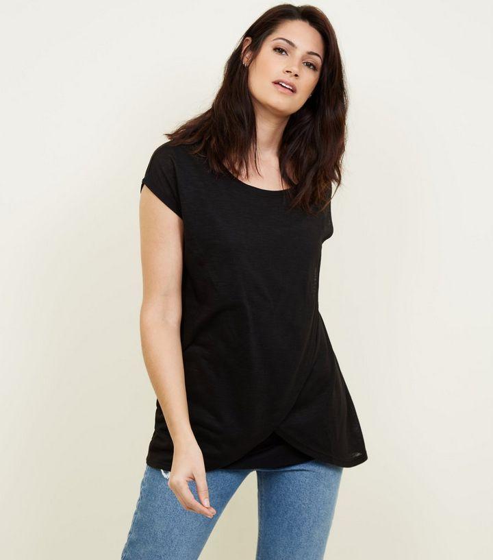1d20d71a8de Maternity Black Wrap Front Nursing T-Shirt | New Look