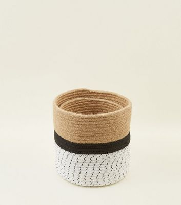2 Pack Black Print Woven Storage Basket