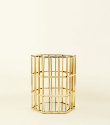 Gold Hexagon Shaped Wire Lantern