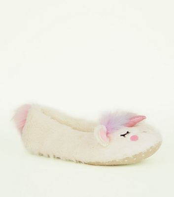 White Fluffy Unicorn Slippers