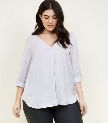 Curves Pale Grey Satin Overhead Shirt