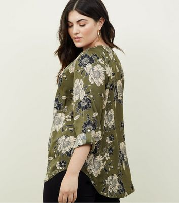 Curves Green Satin Long Sleeve Floral Shirt