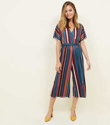 Petite Blue Stripe Ribbed Wrap Front Jumpsuit
