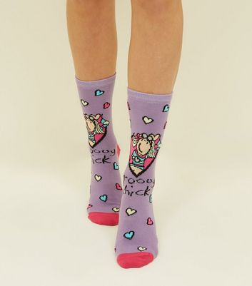 Purple Groovy Chick Logo Socks New Look