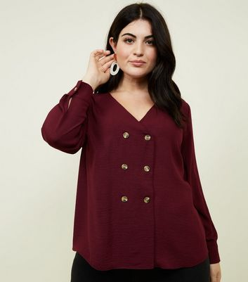 Curves Plum Double Breasted Crepe Blouse