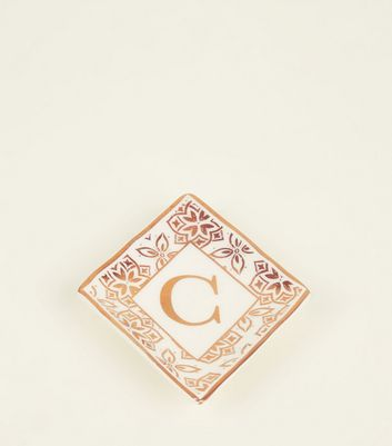 White C Initial Floral Border Trinket Tray by New Look
