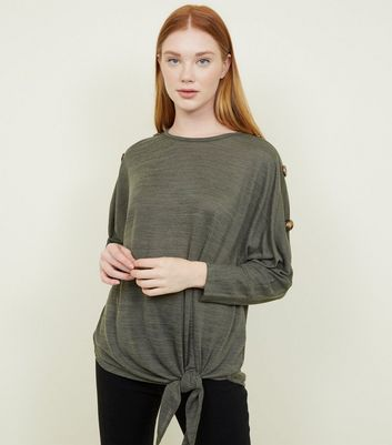 Khaki Tie Side Button Sleeve Fine Knit Top