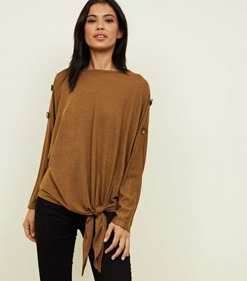 Mustard Tie Side Button Sleeve Fine Knit Top