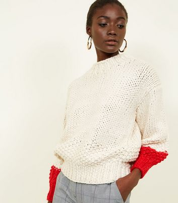 White Contrast Balloon Sleeve Hand Knit Jumper