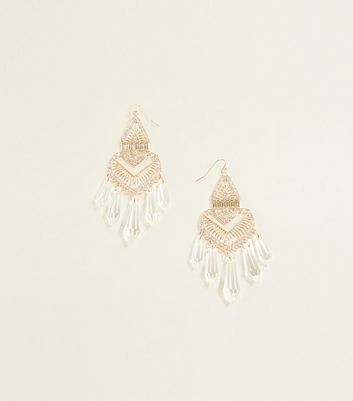 Gold and Clear Spike Chandelier Earrings