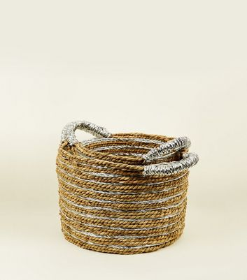 2 Pack Silver and Brown Woven Circular Baskets