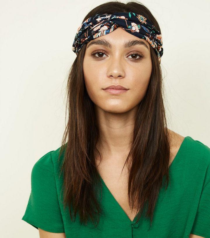 Navy Bright Floral Print Twist Headband  fe8122482f5