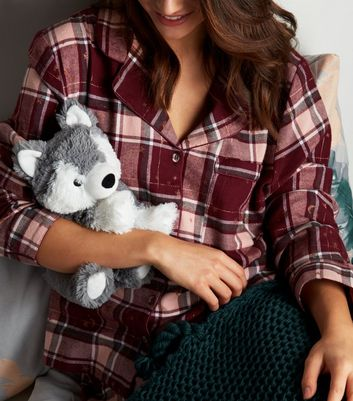 Dark Grey Fluffy Microwaveable Husky Soft Toy by New Look