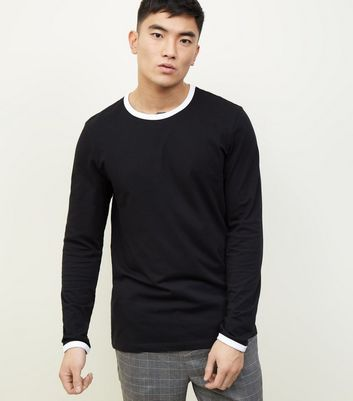 Black and White Long Sleeve Contrast Trim T-Shirt