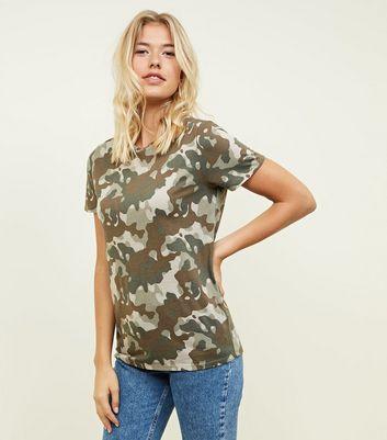 camo print t shirt womens