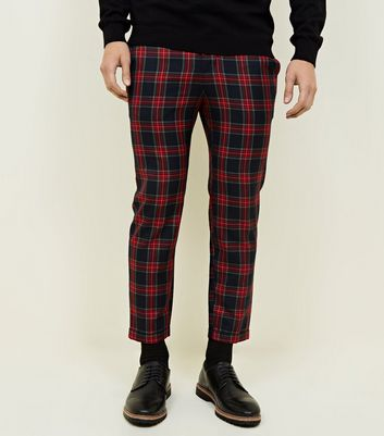 Red Tartan Check Skinny Cropped Trousers