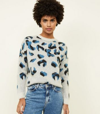 Off White Brushed Leopard Print Jumper