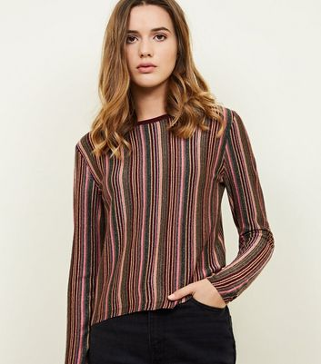 Burgundy Glitter Multi Stripe Long Sleeve T-Shirt